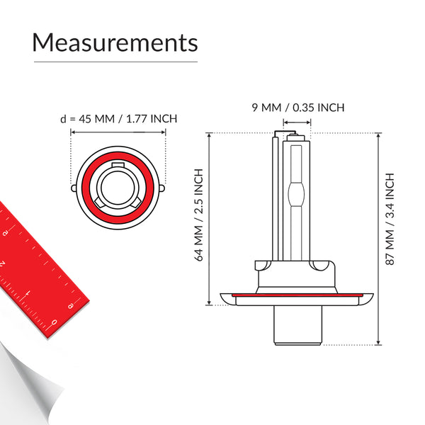Single beam H13 light bulb base measurement