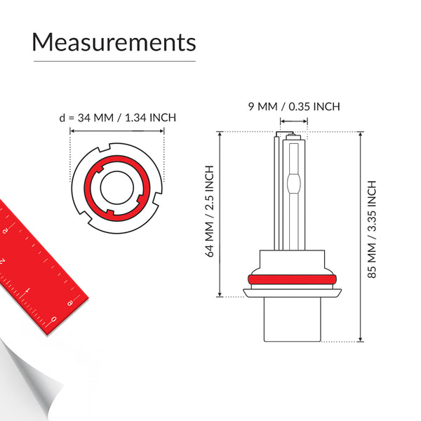 55W Xenon HID 9004 single beam bulb measurements