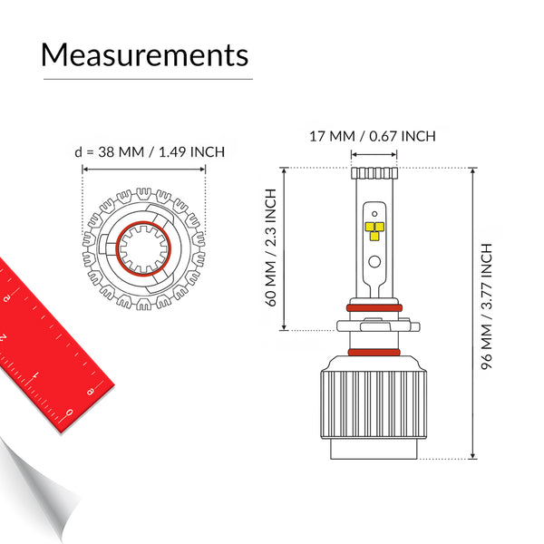 9006 LED headlight bulb measurement