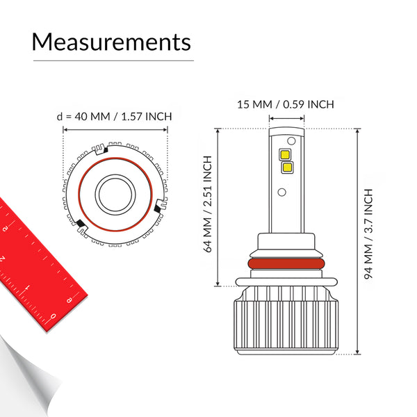 LED 9007 bulb measurements