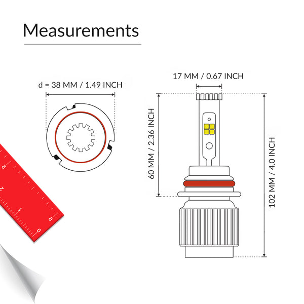 9007 LED headlight bulb measurement