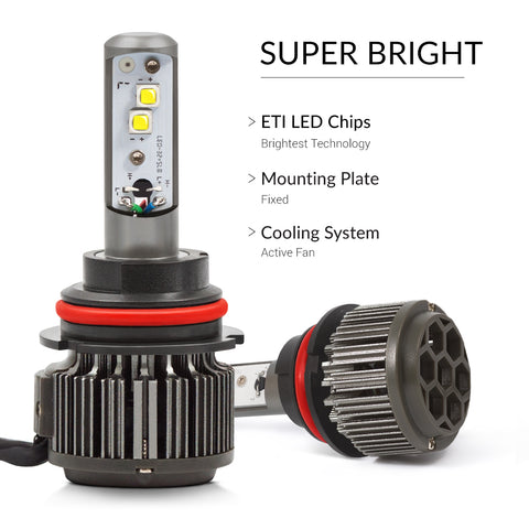 9007 LED bulbs with ETIs for the best visibility