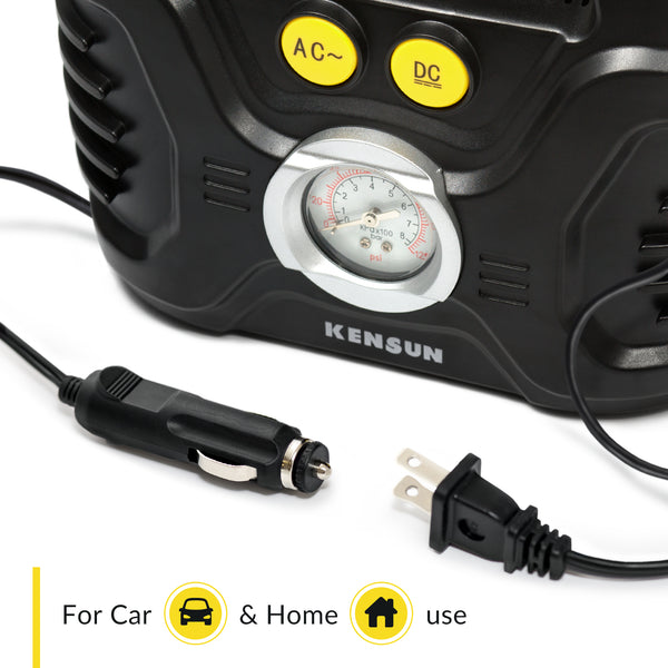 Convenient design for home and car use (12V and 110V plugs)
