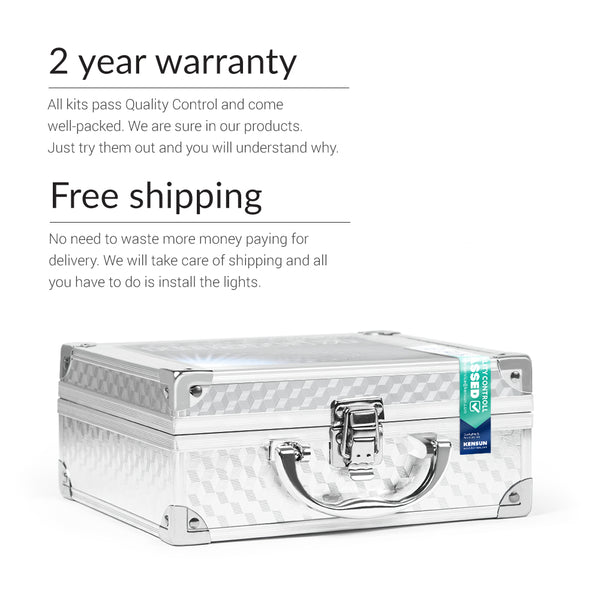 Retrofit headlights D2S comes in a case with free shipping and two year warranty