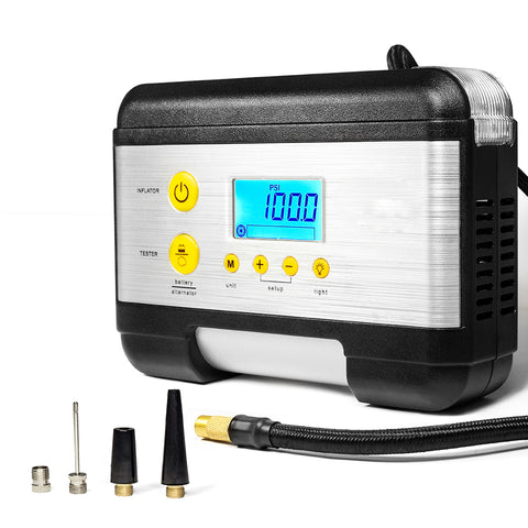 Programmable portable air compressor with battery tester
