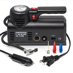 Portable Tire Inflator with Analogue Pressure Gauge for Home (110V) and Car (12V)