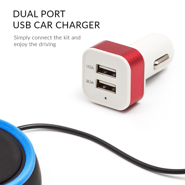 Dual port USB car charger comes in a kit