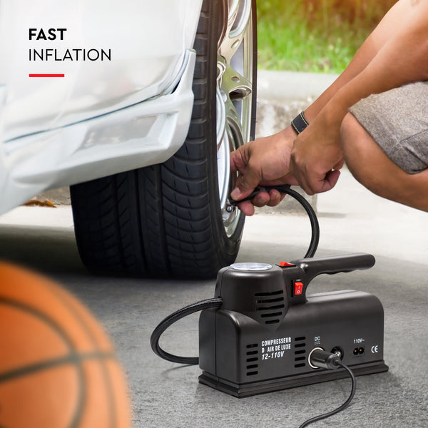 Easy to use on the road compact DC DC adaptable tire inflator