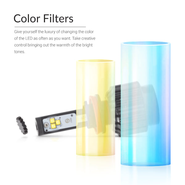 The glass color filters allow to change the color easily