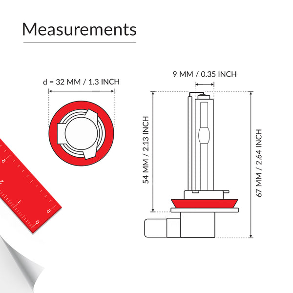 HID H11-L bulb base measurements