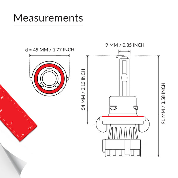 H13 HID Xenon light bulb base measurement