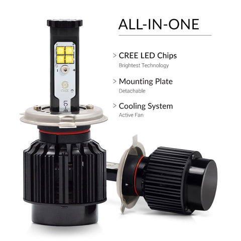 The design of the LED bulbs which allows to install the headlights easily