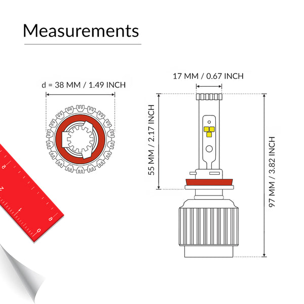 H9 headlight bulb measurement