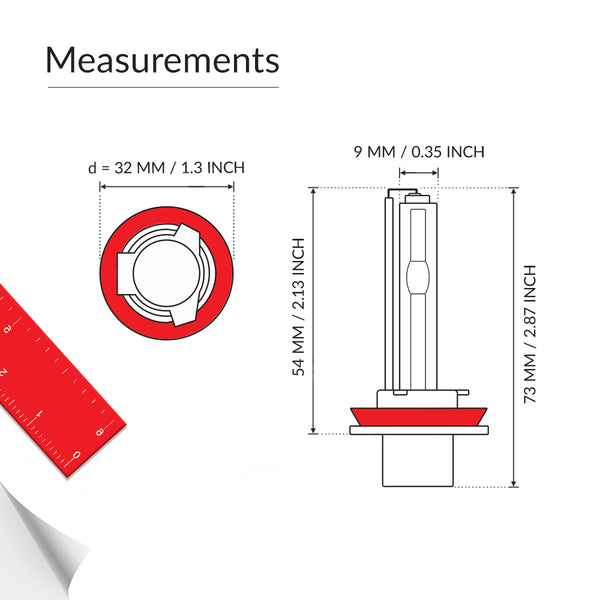 H9 high beam bulb base measurements