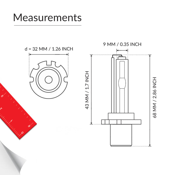 The measurements of the aftermarket D2R HID bulb with AMP connectors