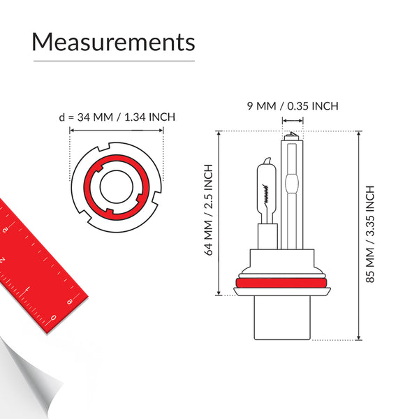 Measurements of low hid high halogen replacement bulb