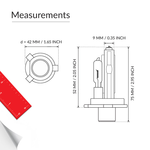 Dual beam H4 9003 headlight bulb base measurement