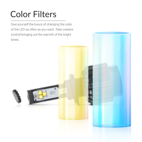 Glass color filters can be used to change the light output color temperature