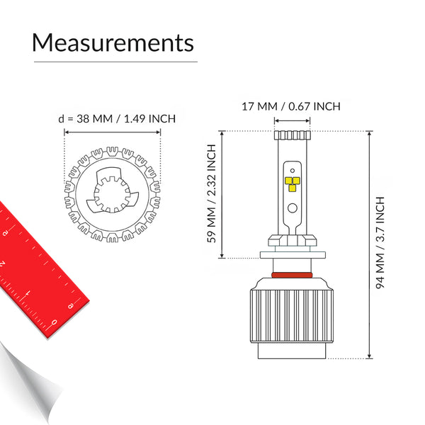 Measurements of the 880 led fog light bulbs for your vehicle