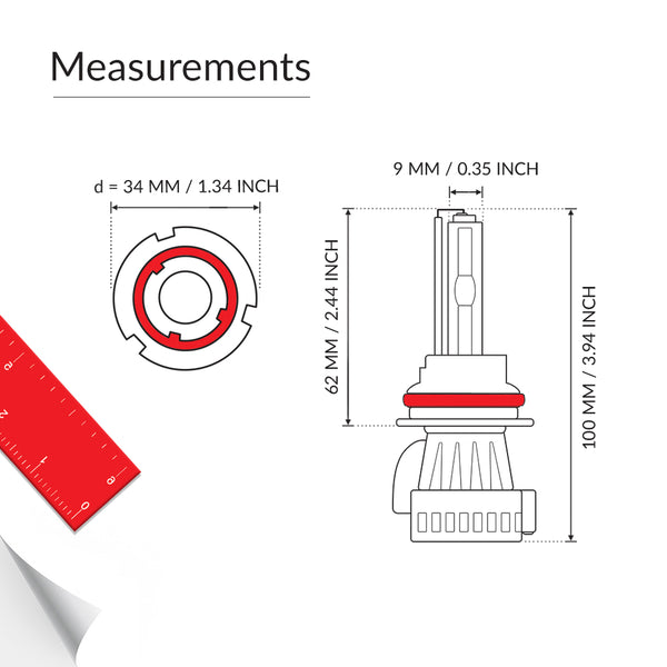9007 HID conversion kit bulb measurements