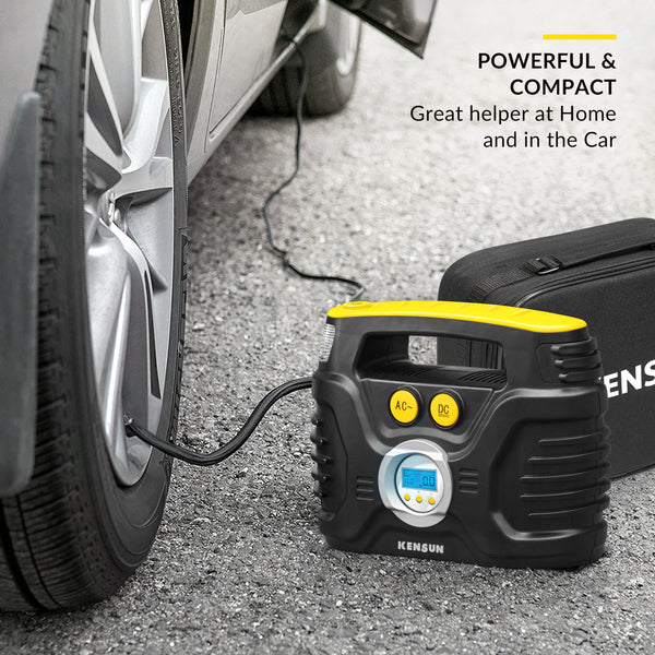 Portable Tire Inflator with Digital Display for Car 12V DC and Home 110V AC - 30 Litres/Min; Max: 100 PSI