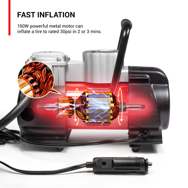 Powerful electric motor 150w for fast inflation on the road