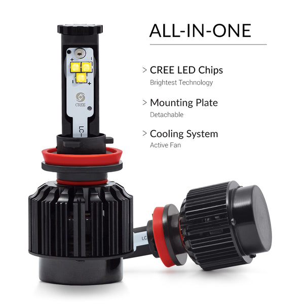 All-in-one design which eases the installation of the headlight upgrading set