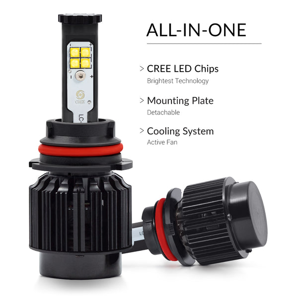 All-in-one 9004 Cree led kit is what you need for maximum brightness