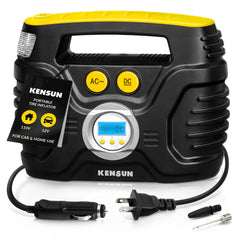 Portable Tire Inflator with Digital Display Model I│ for Car 12V DC and Home 110V AC │ 30 Litres/Min; Max: 100 PSI