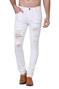 43ae87b471 Zlz Ripped Skinny Distressed Destroyed Slim Fit Stretch Biker Pants With  Holes 32 White