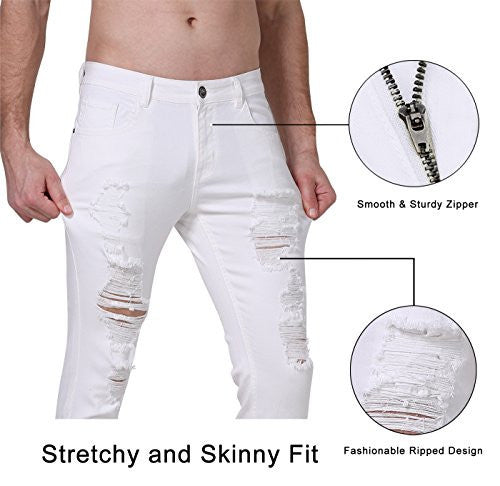 9df99b0cbb ... Zlz Ripped Skinny Distressed Destroyed Slim Fit Stretch Biker Pants  With Holes 32 White ...
