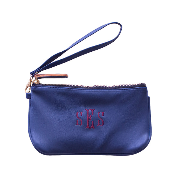 Monogrammed Vegan Leather Wristlet