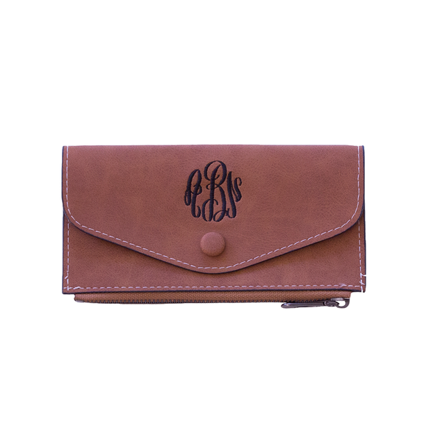 Monogrammed Faux Suede Wallet