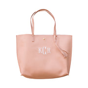 Monogrammed Vegan Leather Tote Bag