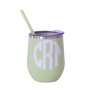 Monogrammed 12 oz Tumbler with Straw