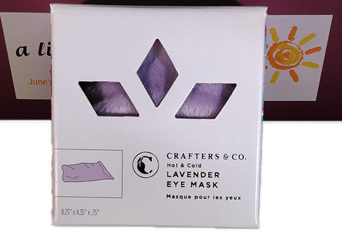 crafters and co. hot and cold lavender eye mask, june's hallmark, little box of happy