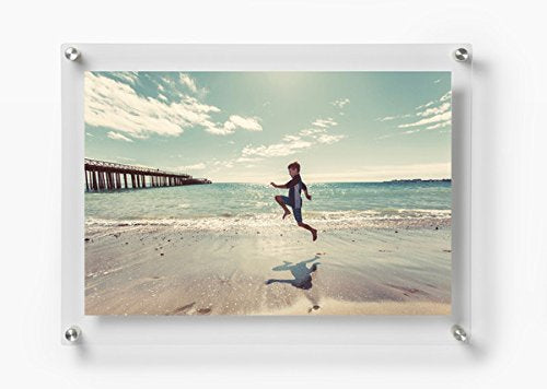 Any Size Custom Cut Acrylic Floating Standoff Picture Frame Choice of Hardware Color