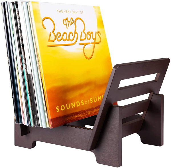 Bamboo Wood Record Album Storage Holder and Stand - Brown, Natural