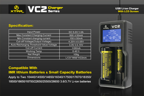 XTAR - VC2 Battery Charger - Mister Vapor
