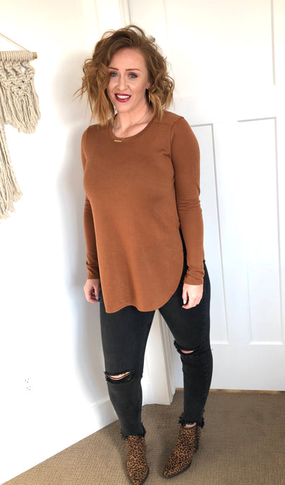 Caramel Long Line Sweater