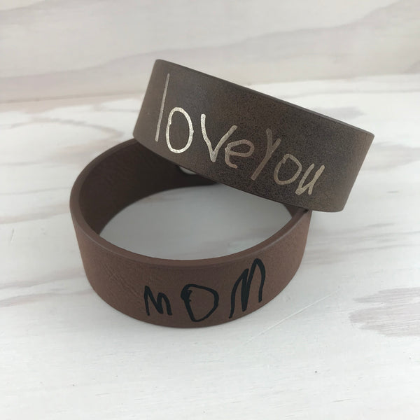 Handwriting Leatherette Cuff