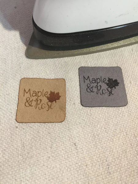 Faux IRON ON Suede Tags
