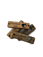 'Handmade' narrow wood tags