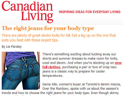 IN THE PRESS | OTR x Canadian Living Magazine x Body Type Jeans