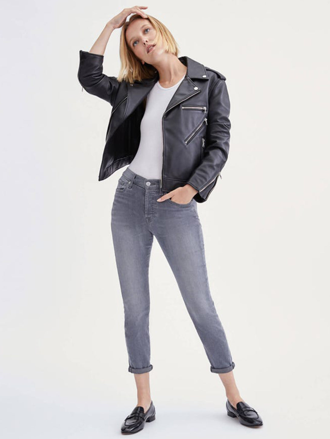 Josefina Luxe Vintage Girlfriend Jean - Cher Grey-Seven for all Mankind-Over the Rainbow