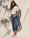 High Waist Crop Raw Hem Straight Jean - Venus Blue-Seven for all Mankind-Over the Rainbow
