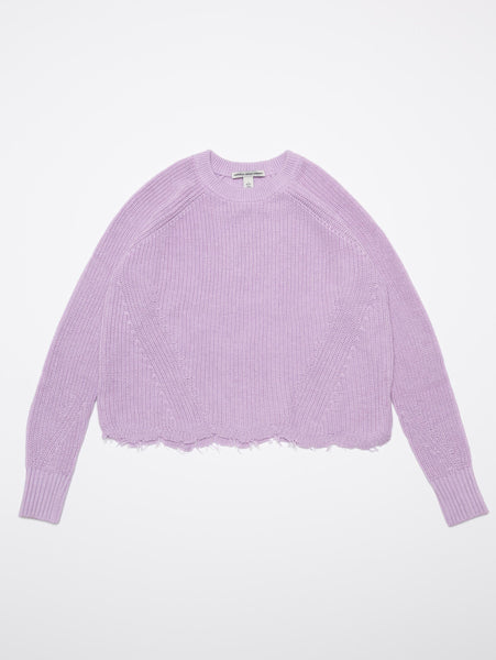 Distressed Scallop Shaker Crew Sweater-AUTUMN CASHMERE-Over the Rainbow
