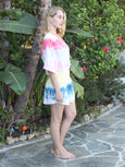 Overlap Gauze Mini Dress - Tie Dye-STARK-Over the Rainbow