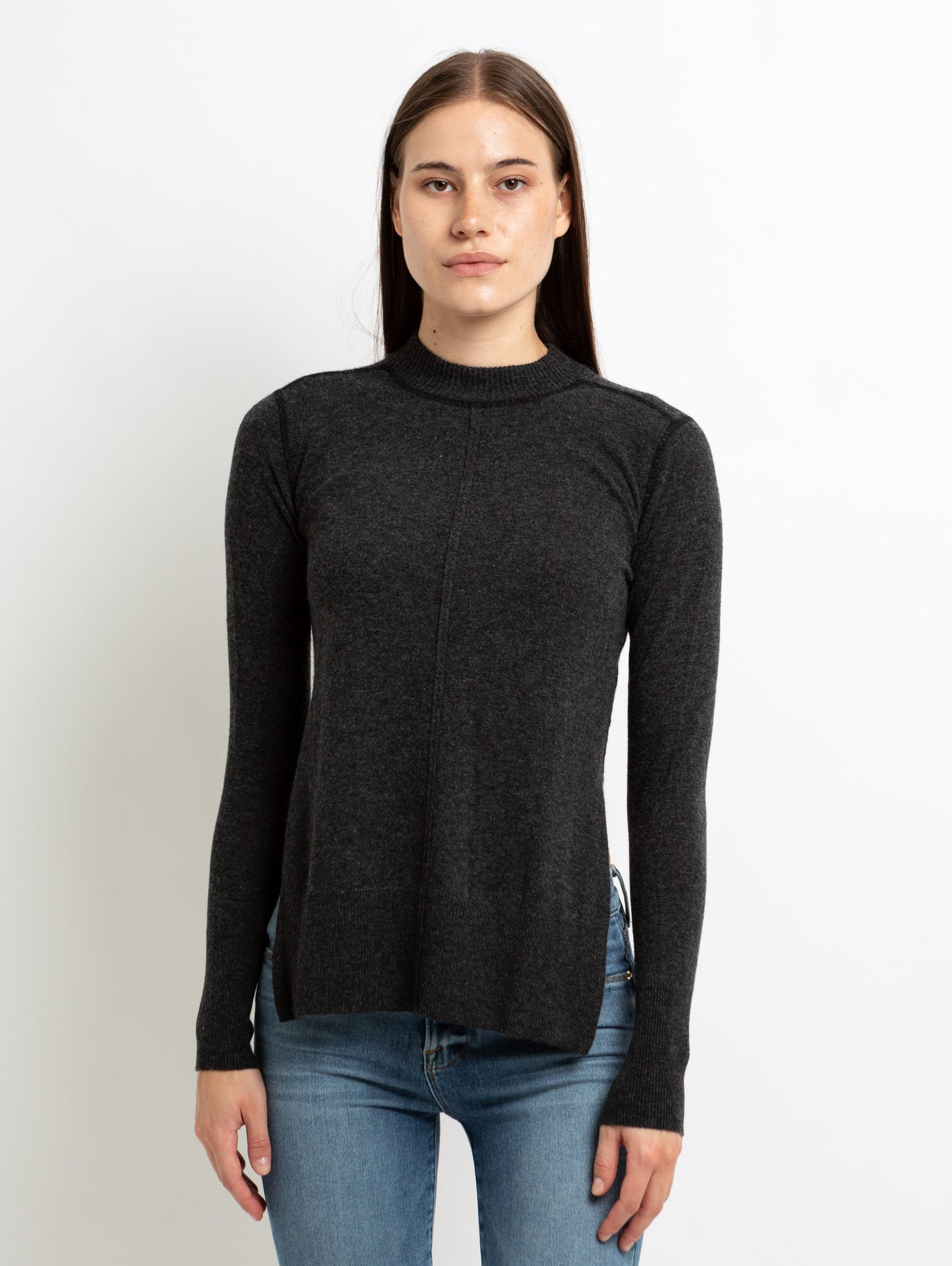 Coverstitch Crew Sweater with High Slits-AUTUMN CASHMERE-Over the Rainbow