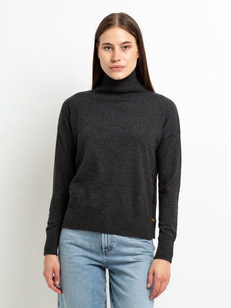 Side Buttoned Mock Neck Sweater-AUTUMN CASHMERE-Over the Rainbow